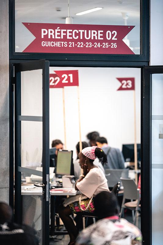 Bureau d'accueil des étudiant avec marquage numéroté